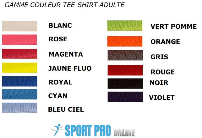 Détail des 13 couleurs de Tee-Shirt Respirant SP Adulte