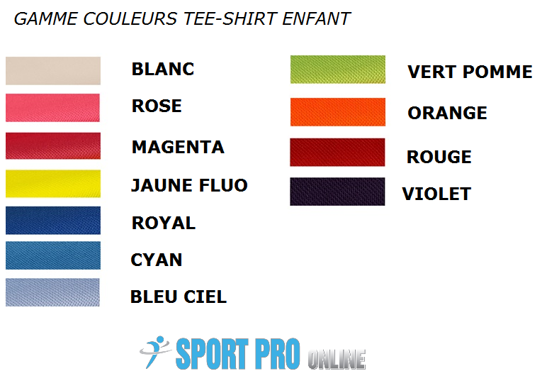 couleur-tee-shirt-enfant-polyester-respirant-personnalisable